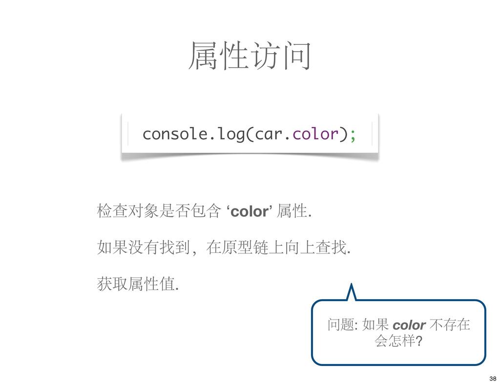 属性访问 console.log(car.color); 检查对象是否包含 'color' 属...