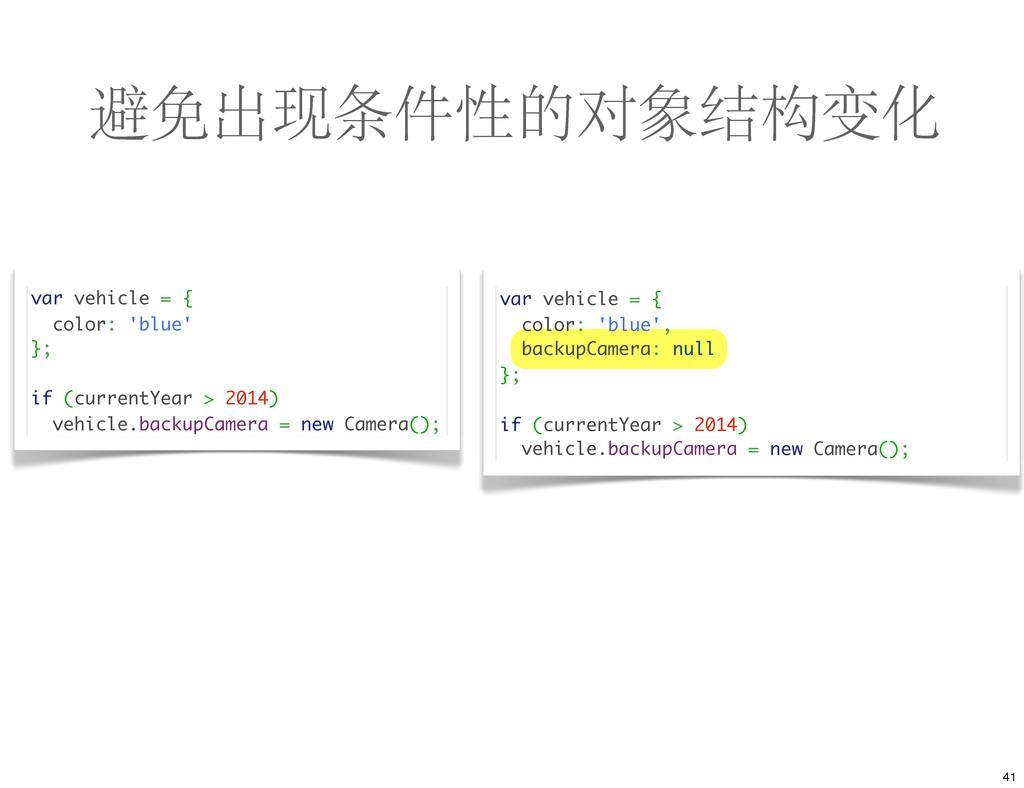 避免出现条件性的对象结构变化 var vehicle = { color: 'blue' };...