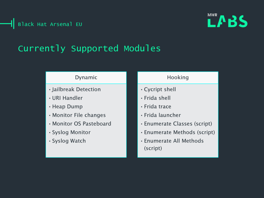 Currently Supported Modules Black Hat Arsenal E...
