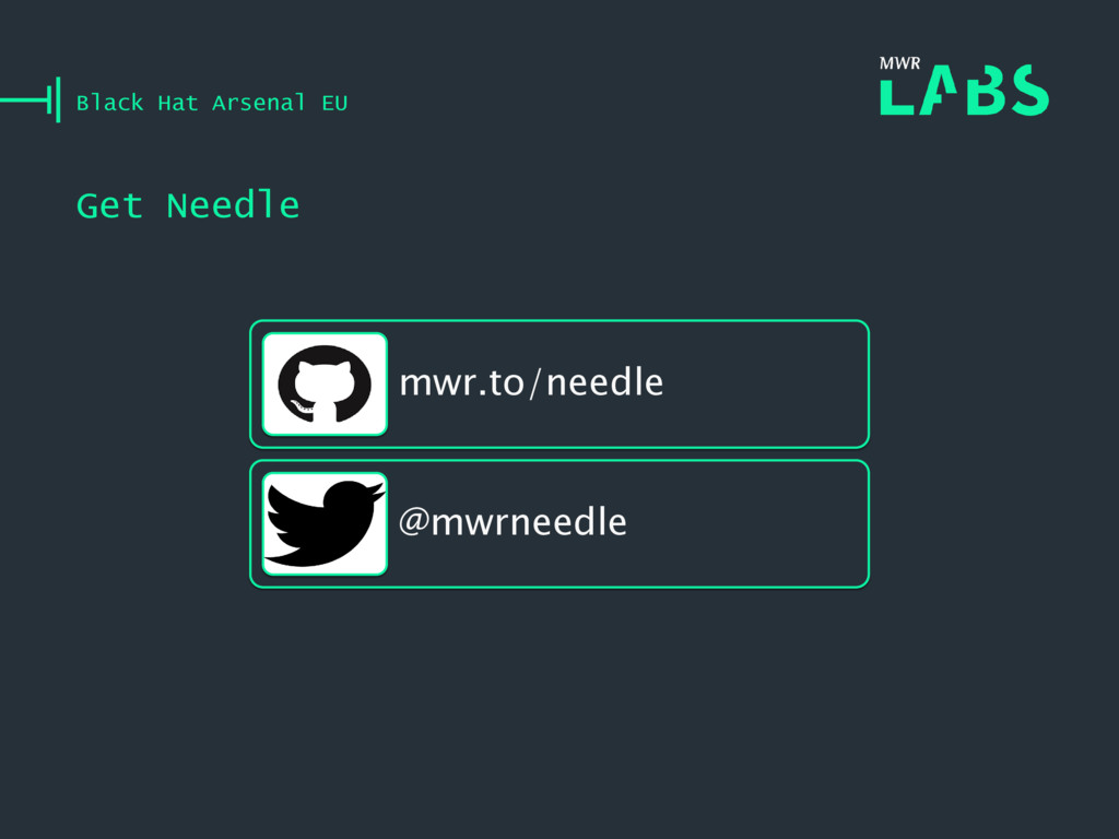 Get Needle Black Hat Arsenal EU mwr.to/needle @...