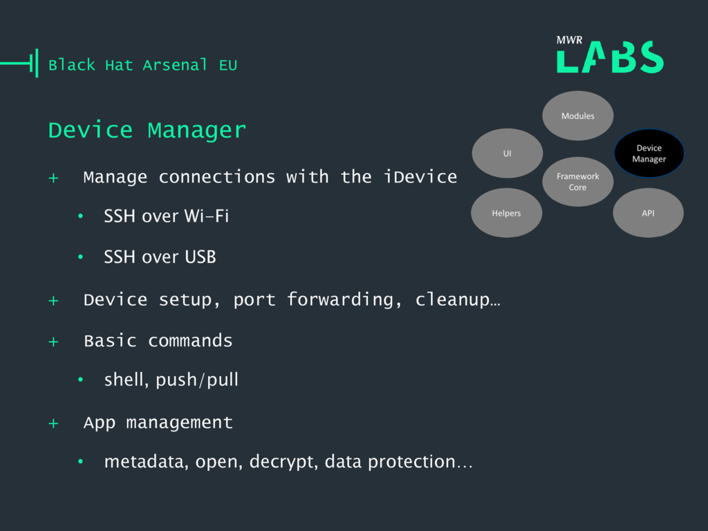 + Manage connections with the iDevice • SSH ove...