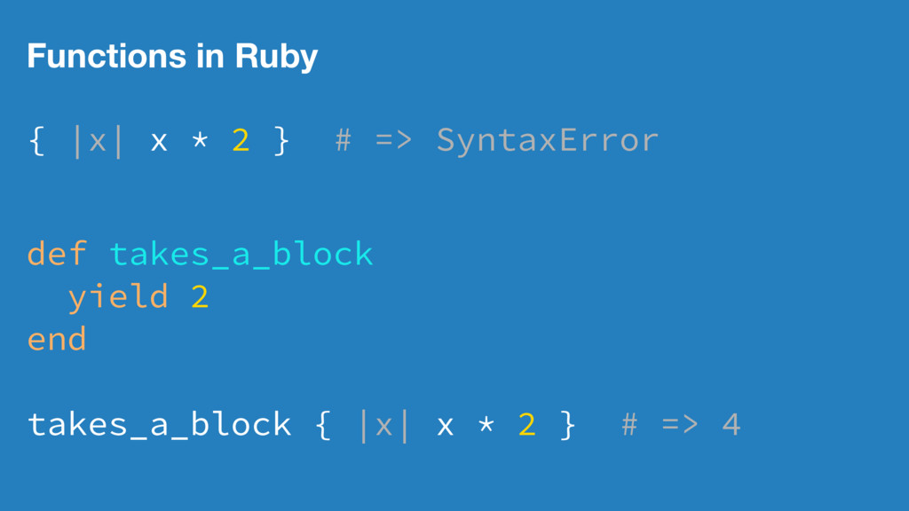 Functions in Ruby { |x| x * 2 } # => SyntaxErro...