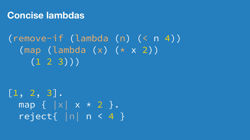 Concise lambdas (remove-if (lambda (n) (< n 4))...