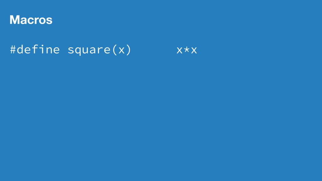 Macros #define square(x) x*x