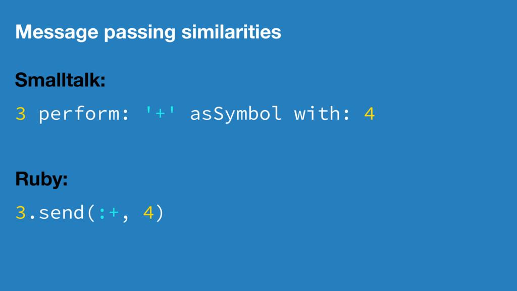 Message passing similarities Smalltalk: 3 perfo...