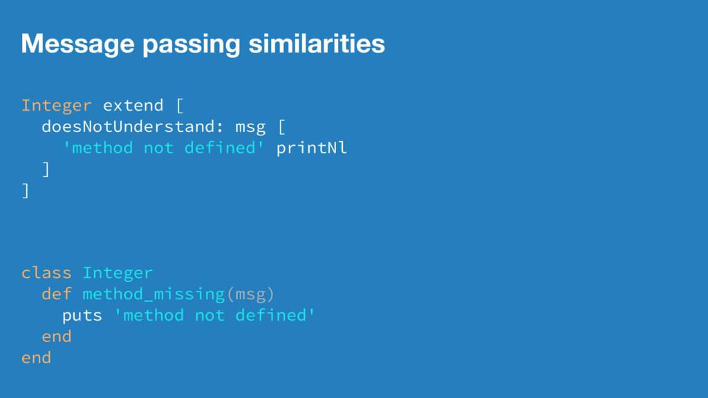 Message passing similarities Integer extend [ d...