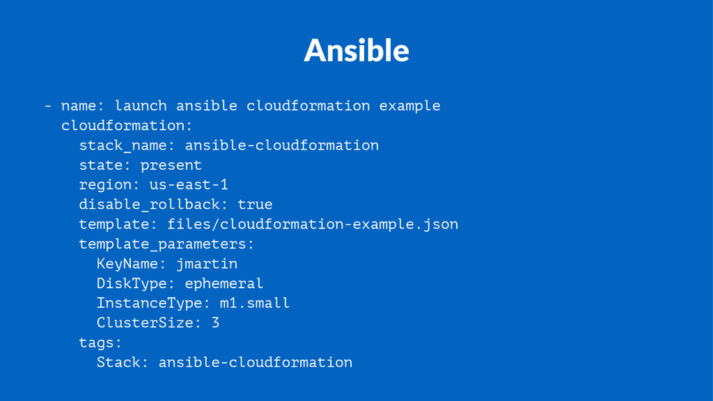 Ansible - name: launch ansible cloudformation e...