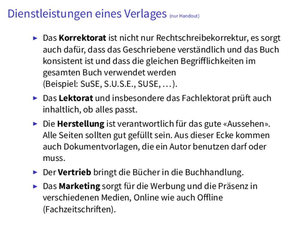 Dienstleistungen eines Verlages (nur Handout) D...