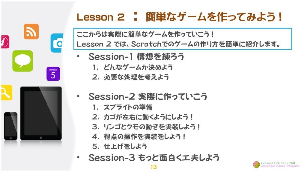 Lesson 2 : 簡単なゲームを作ってみよう! • Session-1 構想を練ろう 1....