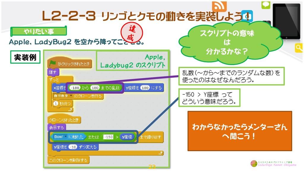 L2-2-3 リンゴとクモの動きを実装しよう! やりたい事 Apple, LadyBug2 を...