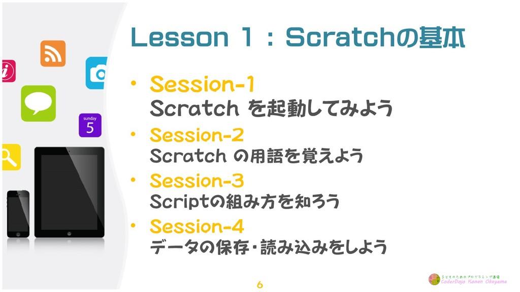Lesson 1 : Scratchの基本 • Session-1 Scratch を起動して...