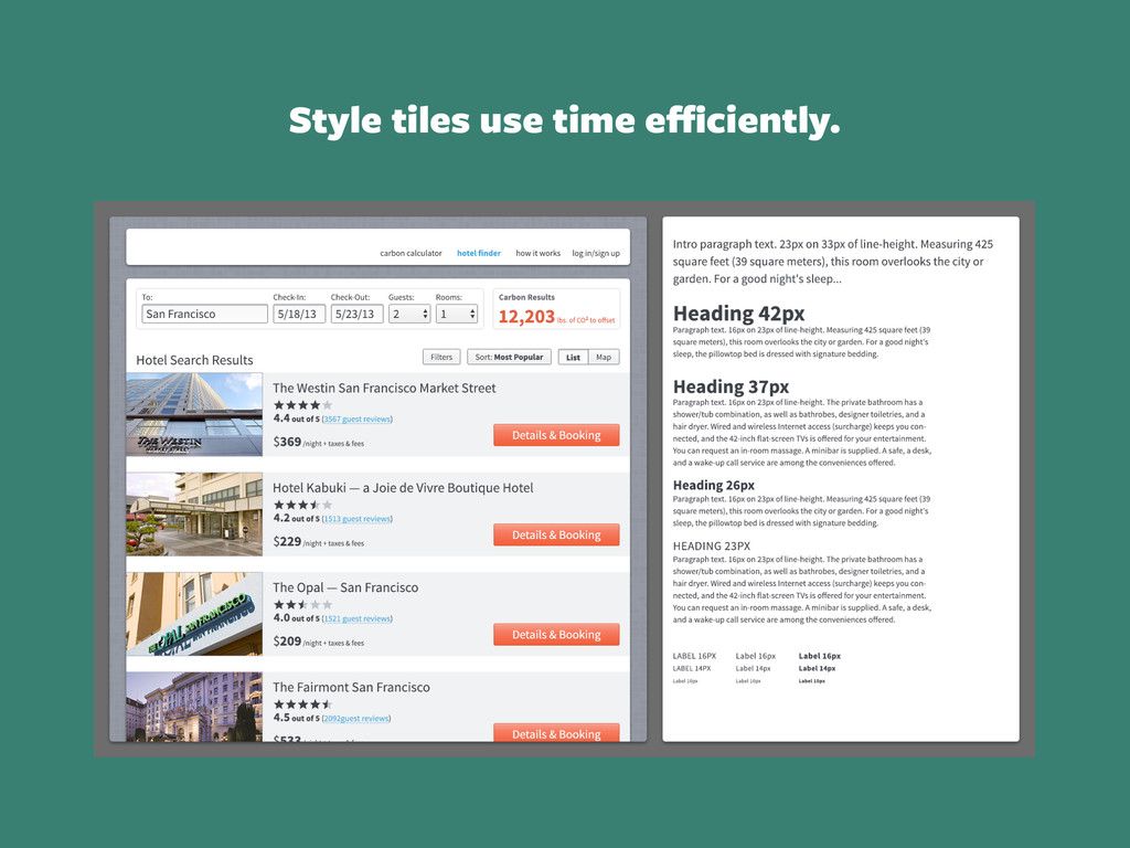 Style tiles use time efficiently.