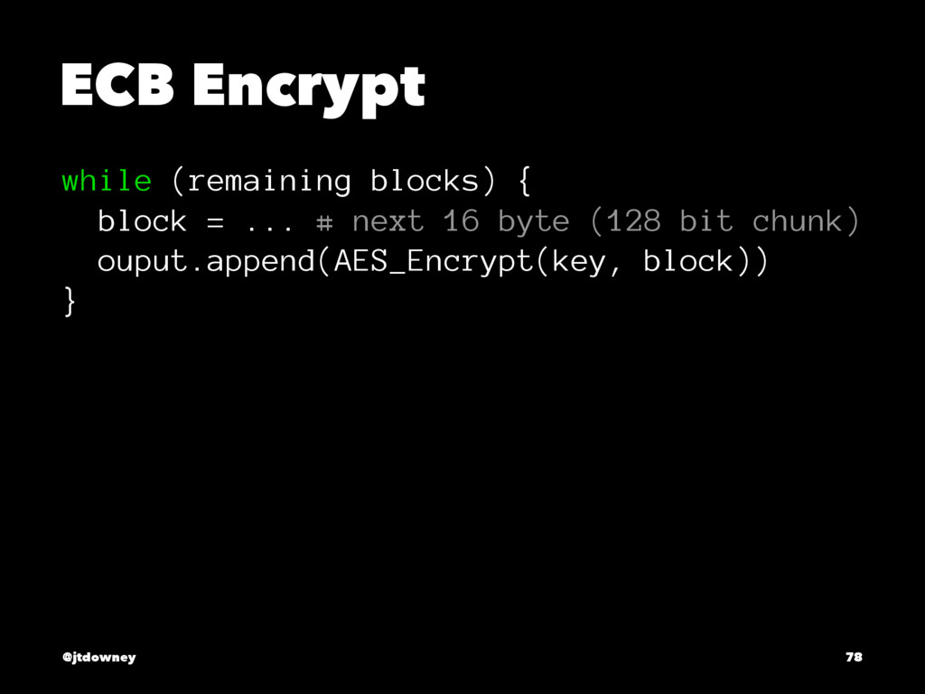 ECB Encrypt while (remaining blocks) { block = ...