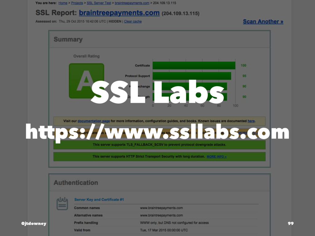 SSL Labs https://www.ssllabs.com @jtdowney 99