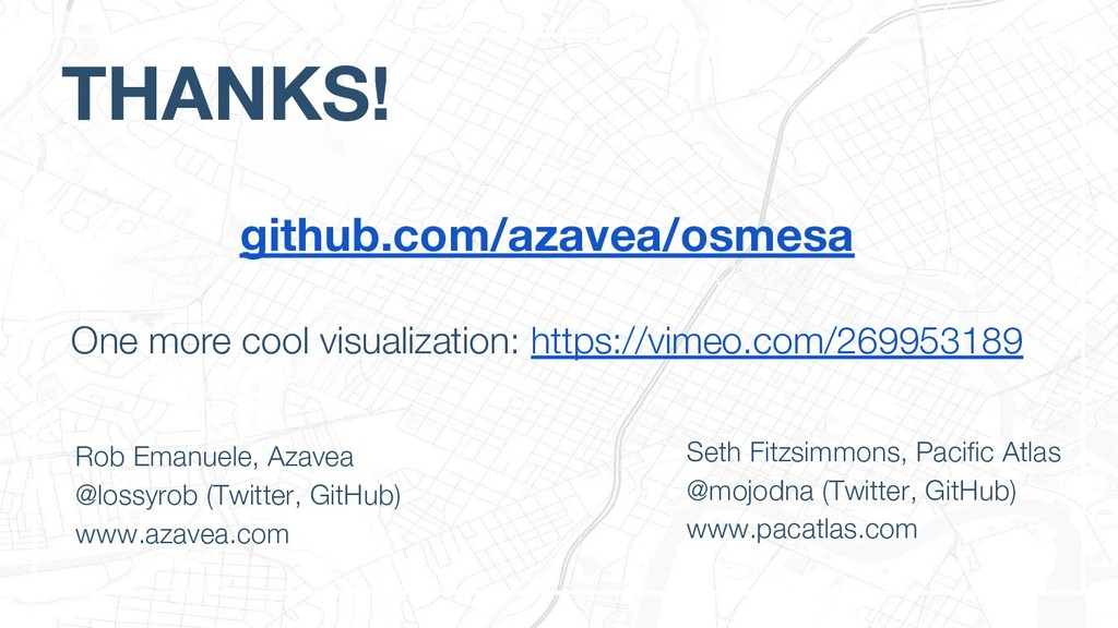 THANKS! Rob Emanuele, Azavea @lossyrob (Twitter...