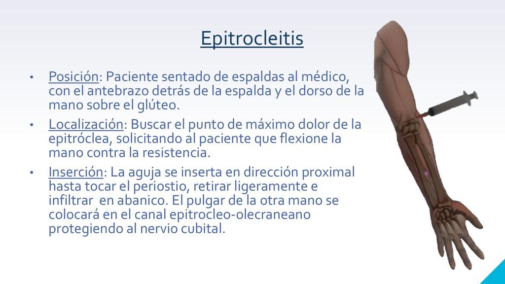Epitrocleitis • Posición: Paciente sentado de e...