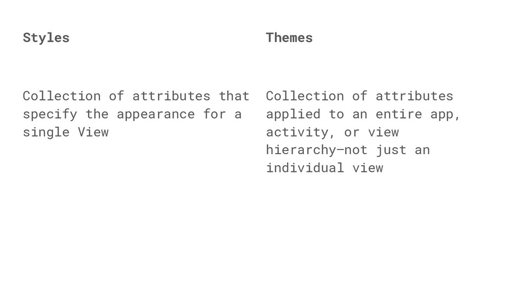 Themes Collection of attributes applied to an e...