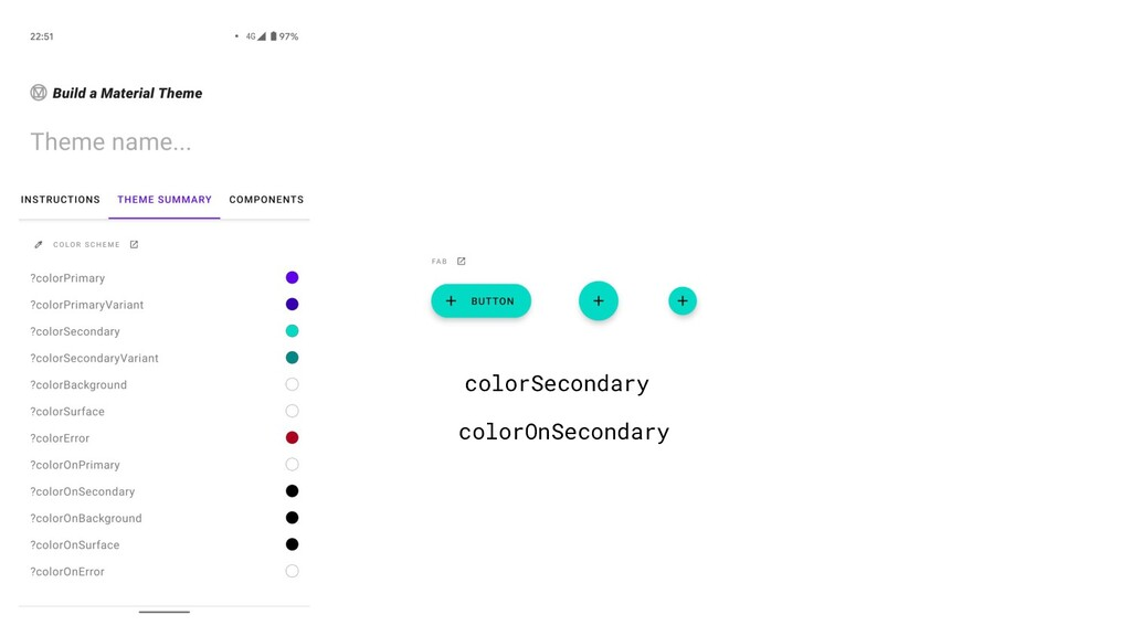 colorSecondary colorOnSecondary