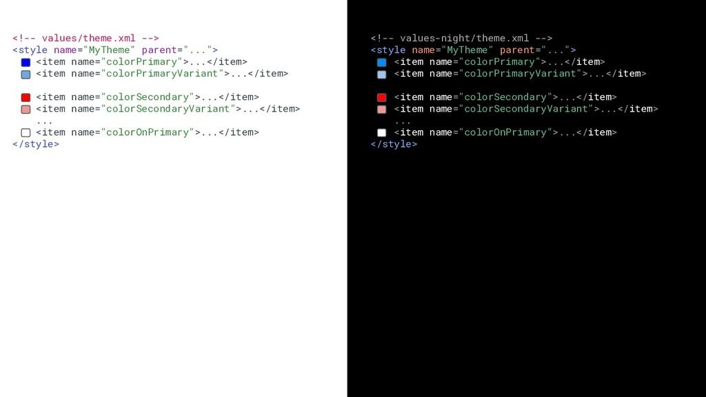 "<!-- values/theme.xml --> <style name=""MyTheme""..."