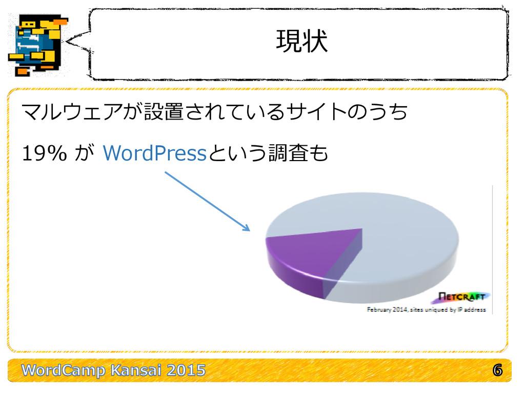 現状 マルウェアが設置されているサイトのうち 19% が WordPressという調査も