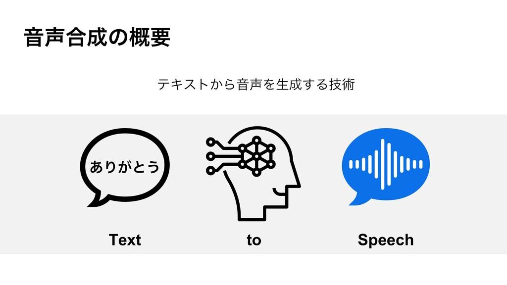 Ի߹ͷ֓ཁ Text ͋Γ͕ͱ͏ to Speech ςΩετ͔ΒԻΛੜ͢Δٕज़