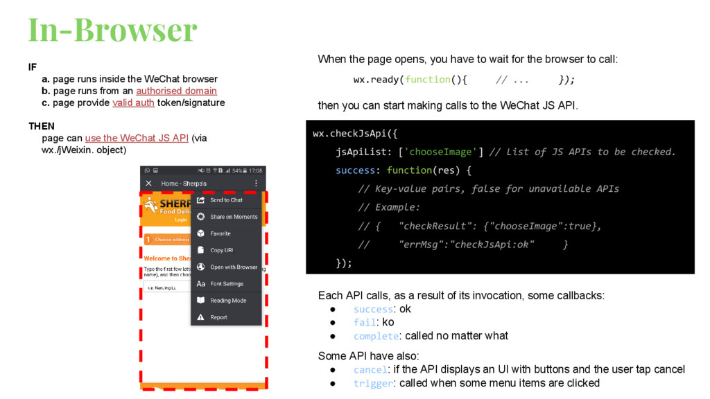 In-Browser IF a. page runs inside the WeChat br...