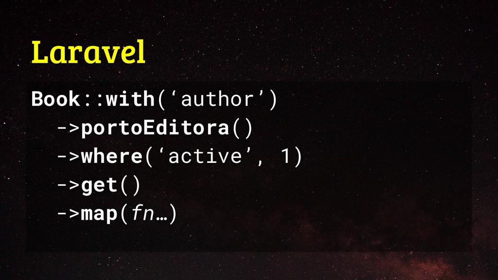 Laravel Book::with('author') ->portoEditora() -...