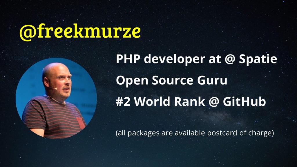 @freekmurze PHP developer at @ Spatie Open Sour...