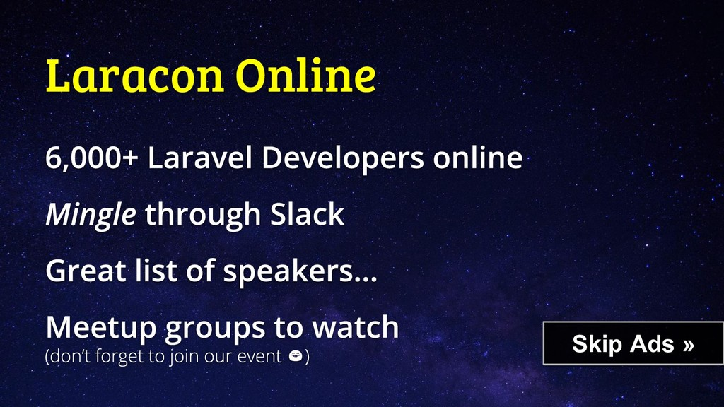 Laracon Online Skip Ads »