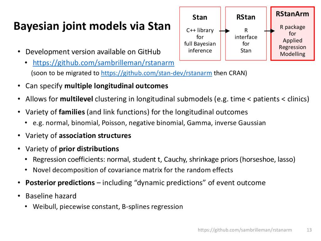 Bayesian joint models via Stan • Development ve...