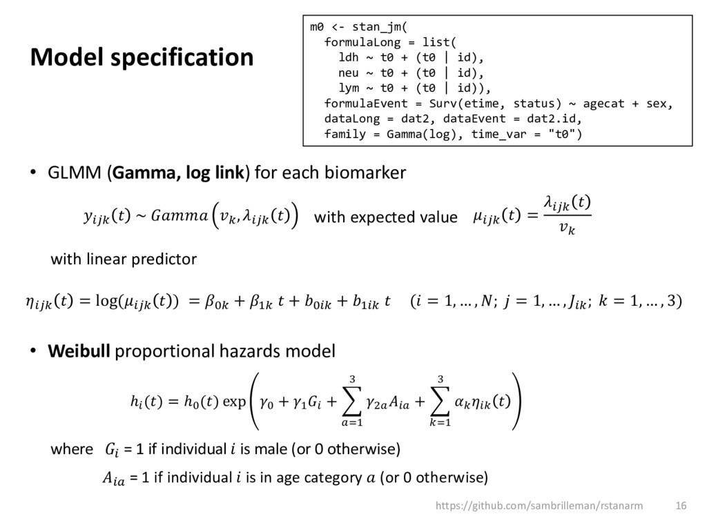 Model specification • GLMM (Gamma, log link) fo...