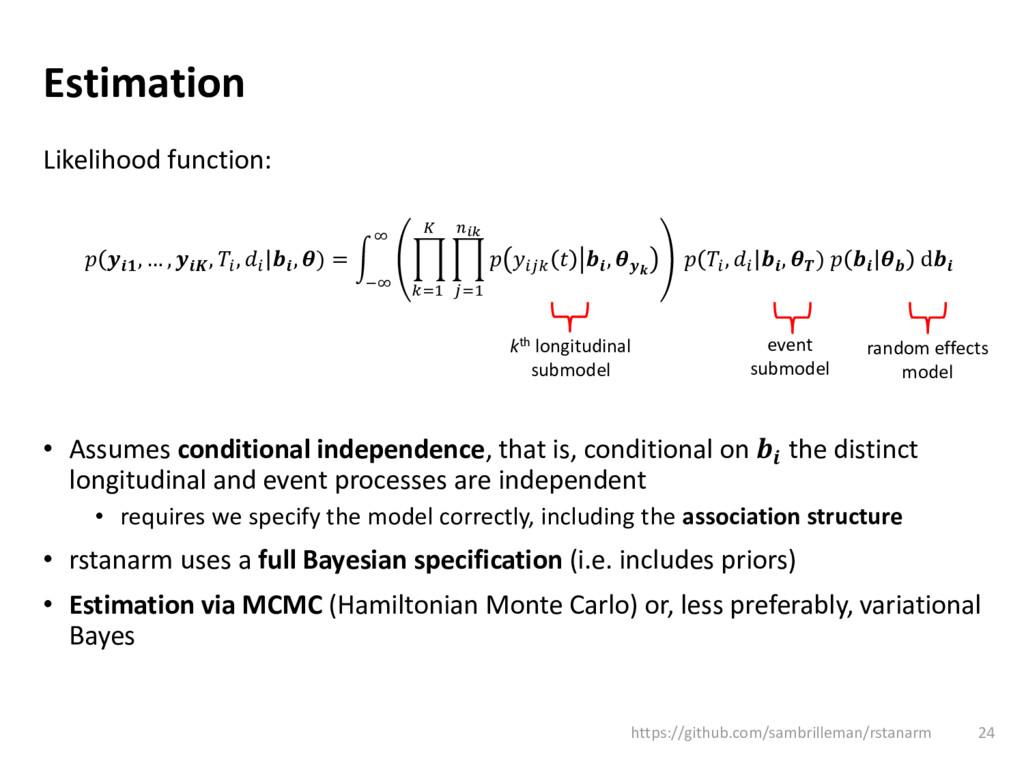 Estimation Likelihood function:   , … ,  ,  ,  ...