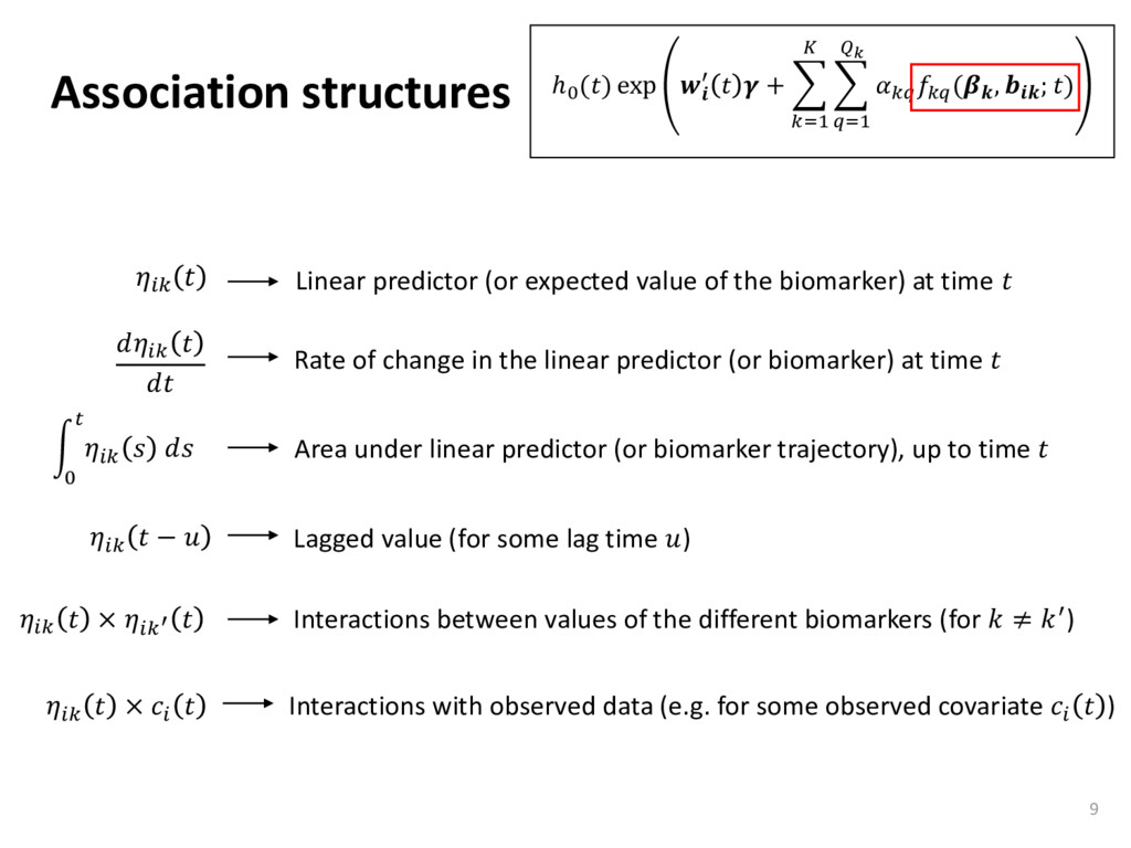 Association structures 9   Linear predictor (or...