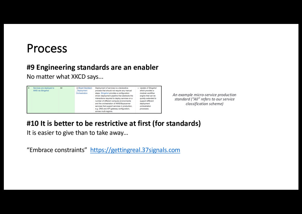 Process #9 Engineering standards are an enabler...