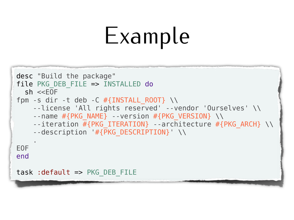 "Example desc ""Build the package"" file PKG_DEB_F..."