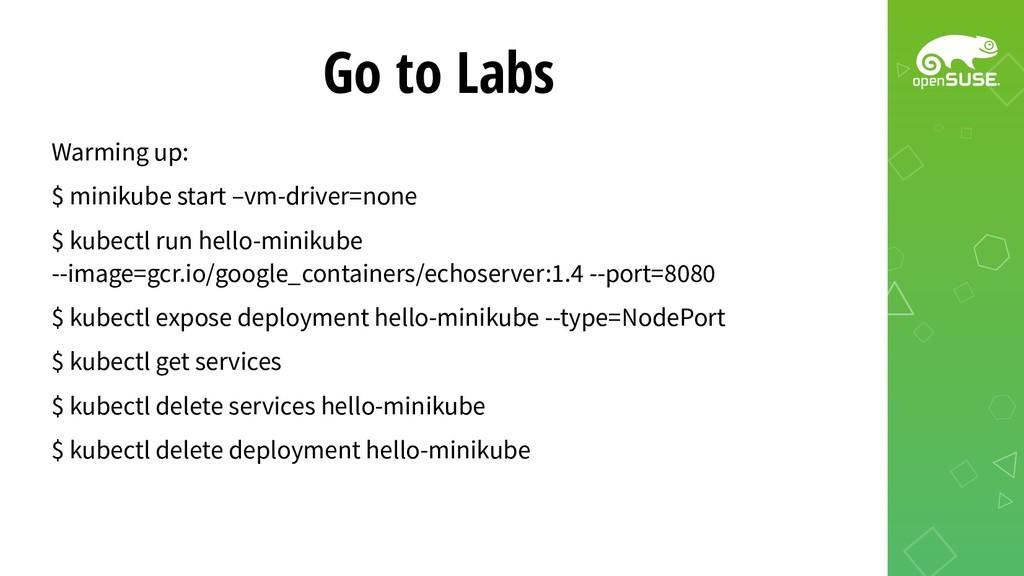 Go to Labs Warming up: $ minikube start –vm-dri...