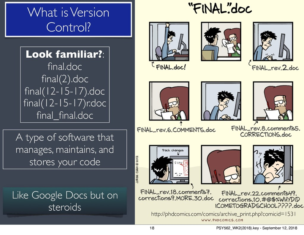 18 What is Version Control? http://phdcomics.co...