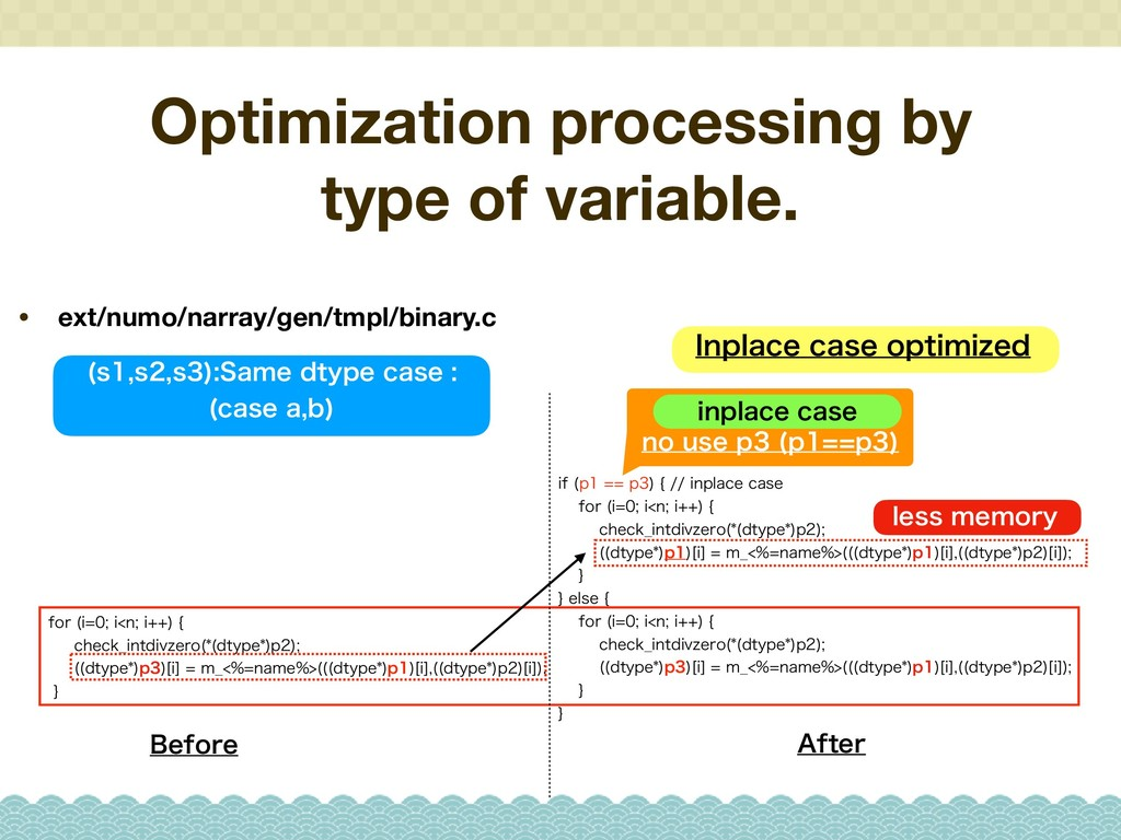 Optimization processing by type of variable. • ...