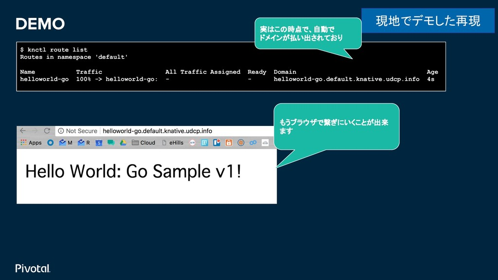 DEMO 現地でデモした再現 $ knctl route list Routes in nam...