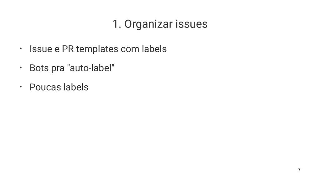 1. Organizar issues • Issue e PR templates com ...