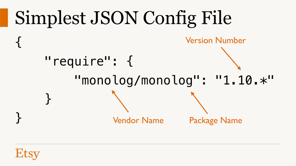 "Simplest JSON Config File { ""require"": { ""monol..."