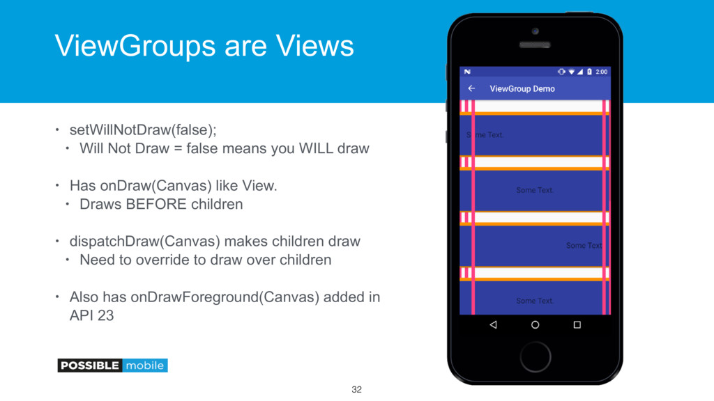 ViewGroups are Views • setWillNotDraw(false); •...