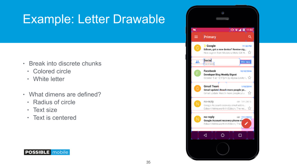 Example: Letter Drawable • Break into discrete ...