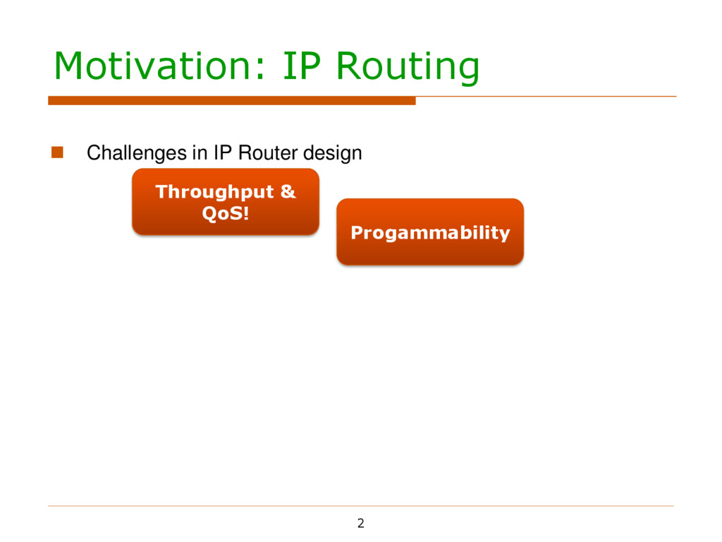 Motivation: IP Routing 2  Challenges in IP Rou...