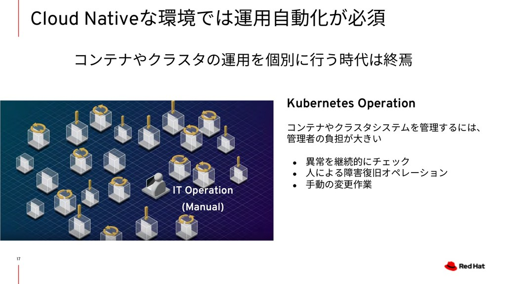 Cloud Nativeな環境では運⽤⾃動化が必須 17 IT Operation (Manu...
