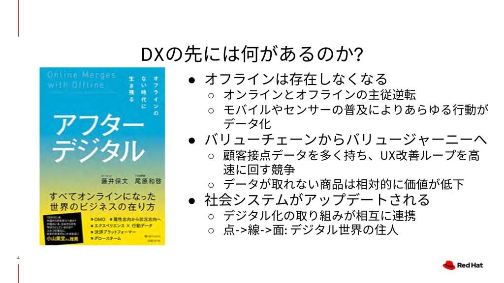 DXの先には何があるのか? 4 ● オフラインは存在しなくなる ○ オンラインとオフラインの主...
