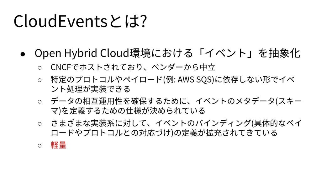 CloudEventsとは? ● Open Hybrid Cloud環境における「イベント」を...