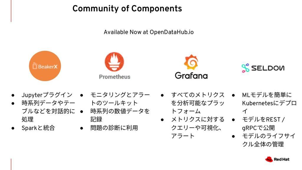 Available Now at OpenDataHub.io ● モニタリングとアラー トの...