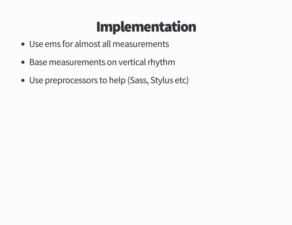 Implementation Use ems for almost all measureme...