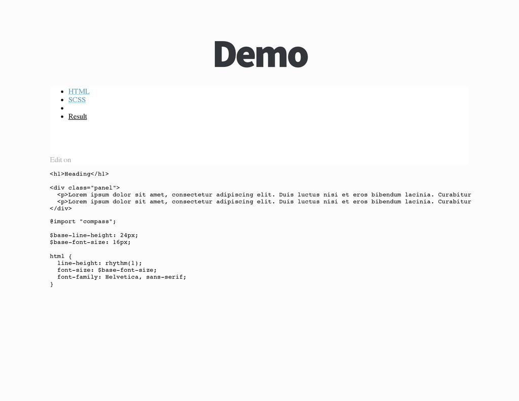 Demo HTML SCSS Result Edit on < h 1 > H e a d i...